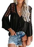 CANIKAT Women's Fashion Fall Bell Long Sleeve Button Down Tops V Neck Lace Hem Basic Tee Shirts Chiffon Flowy Blouses Black S