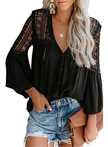 CANIKAT Women's Fashion Fall Bell Long Sleeve Button Down Tops V Neck Lace Hem Basic Tee Shirts Chiffon Flowy Blouses Black L