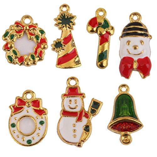7x Pendente Lega Tema Natale Ciondolo fiocco di neve, pupazzo, Santa Clause