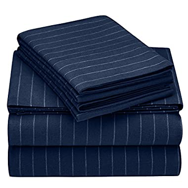 Pinzon 160 Gram Pinstripe Flannel Sheet Set - King, Navy Pinstripe