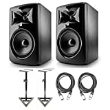 JBL 306P MkII 6.5' Studio Monitoring Speakers (Pair) w/AxcessAbles Studio Monitor Stands and Studio Cables