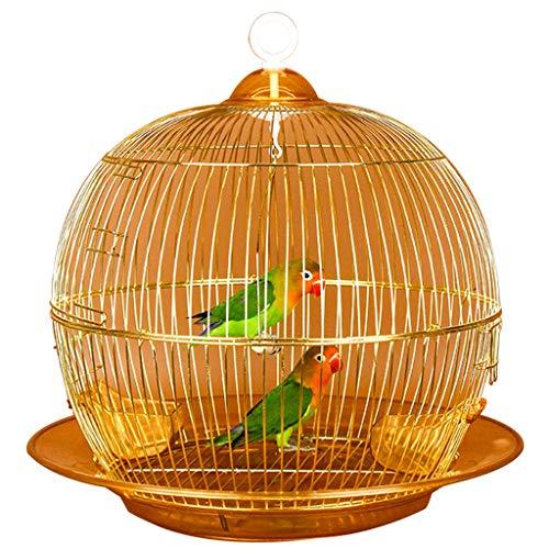 YUESFZ Jaulas para pájaros Jaula De Pájaros De Piel De Tigre Redonda Ligera, Jaula Ornamental Decorativa De Metal Al Aire Libre, Pequeña Jaula De Cría De Loros De Jardín