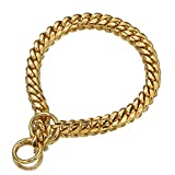 Polished 18K Gold Plated Dog Collar Stainless Steel 12mm, 15mm, 18mm Curb Choke Chain Collar for Dog's Training , Daily Use (12mm, 12inches)