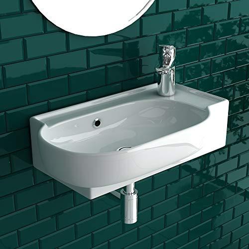 Alpenberger - Lavabo de cerámica de 45 x 27,5 cm para aseo de invitados y baños pequeños - Grifo de colocación a la derecha - Diseño ovalado italiano - Lavabo de cerámica con rebosadero - Lavabo