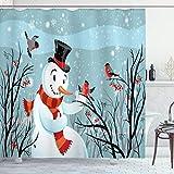 ABAKUHAUS Weihnachten Duschvorhang, Snowy-Winter-Baum, Waschbar & Leicht zu pflegen mit 12 Haken Hochwertiger Druck Farbfest Langhaltig, 175 x 200 cm, Mandel grün Schwarz Orange