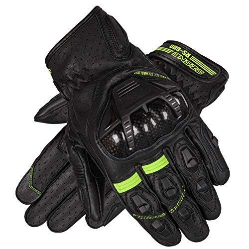Ozone RS600 Short Leder Motorradhandschuhe für Männer Finger und Knöchel Decken Belüftung Flexible Elemente Touchscreen-freundliche Pads