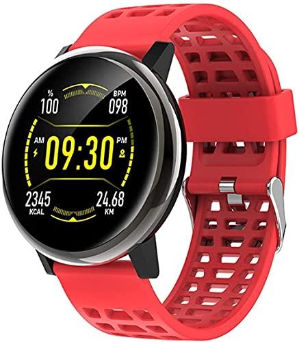 Reloj Inteligente 1.3 Pulgadas Pantalla Fitness Tracker Deportes Podómetro Pulsera Mensaje Push Recordatorio Inteligente Ip67 Impermeable Reloj Deportivo-Rojo