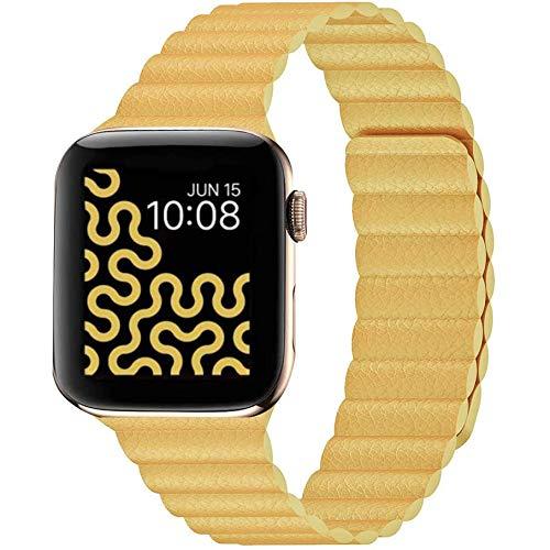 Synchro Apple Watch Armband Series SE 6 5 4 3 2 1, Größe 44mm 42mm 40mm 38mm iWatch Armband für Damen oder Herren, Magnetverschluss. Smartwatch Zubehör, besser als Leder