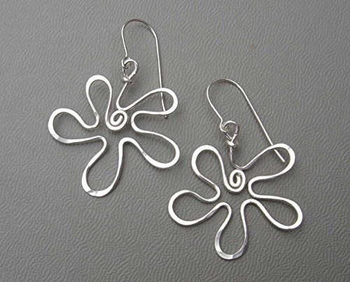 Retro Flower Sterling Silver Wire Dangle Earrings, Light Weight Casual,Handmade in Oregon USA