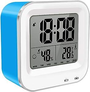 XSPDX Protection de l'environnement de réveil numérique et réveil Silencieux économiseur d'énergie avec la température, hygromètre, Snooze, Port USB, Fonction Intelligente de Contre-Jour,C
