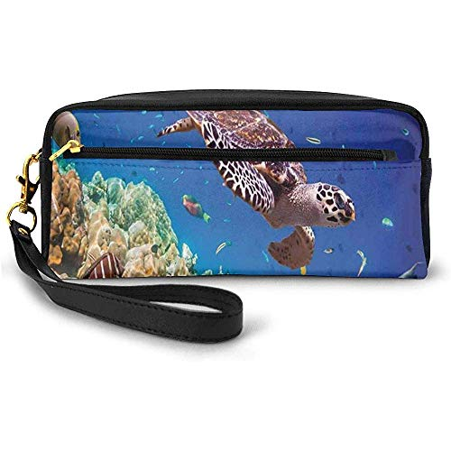 Lonely Old Tropical Sea Turtle Swimming Shoal Sea Sponges Maldives Image Small Makeup Bag with Zipper Pencil Case 20cm * 5.5cm * 8.5cm