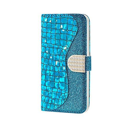 WJMWF Compatible con Funda Samsung Galaxy J5 2017 Glitter PU Cuero Flip Billetera Case Cierre Magnético con Ranura para Tarjeta Anti-Shock Cubierta-Azul