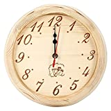 HERCHR Orologio da Parete in Legno per Sauna, Home Office, Accessori per Sauna, Diametro 9...