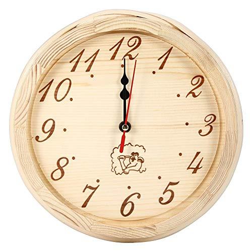 HERCHR Holzwanduhr für Saunaraum Home Office Saunazubehör 9 Zoll Durchmesser