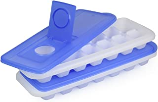 Ice Cube Trays With Lid - Set of 2 Ice Trays By ChefLand   Easy Release, Stackable, Compact, Odorless, BPA-Free Ice Molding Trays For Whiskey, Cold Drinks, Cocktails & Juices (Blue)