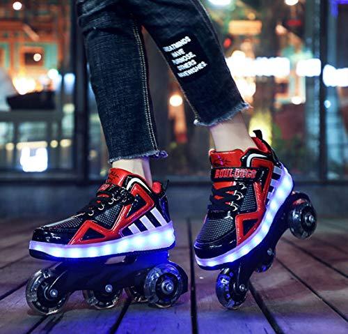 llh Enfants 4 Roues Lumineux Brillant Baskets,Lumière LED Chaussures De Patin À roulettes Enfants Chaussures LED Garçons Filles,Red-39