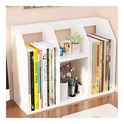 TEAYASON Estantería de escritorio simple, ajustable, multifuncional, de madera, estante de almacenamiento de varias capas para oficina, dormitorio, estantería de escritorio (color amarillo), blanco