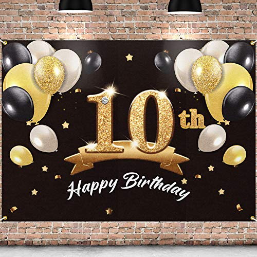 PAKBOOM Happy 10th Birthday Backdrop Black Gold Photo Background Banner 10 Birthday Decorations Party Supplies for Boys