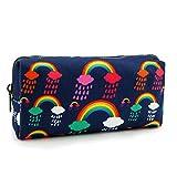 LParkin Rainbows Clouds Canvas Pencil Case Pen Bag Pouch Stationary Gadget Case Makeup Cosmetic Bag Kawaii Box