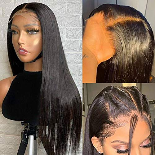 ALTERYOU Lace Front Wigs Human Hair for Black Women 150% Density 11A Brazilian 4×4 Straight Human Hair Lace Front Wigs Pre Plucked with Baby Hair Natural Hairline Wigs(22Inches)