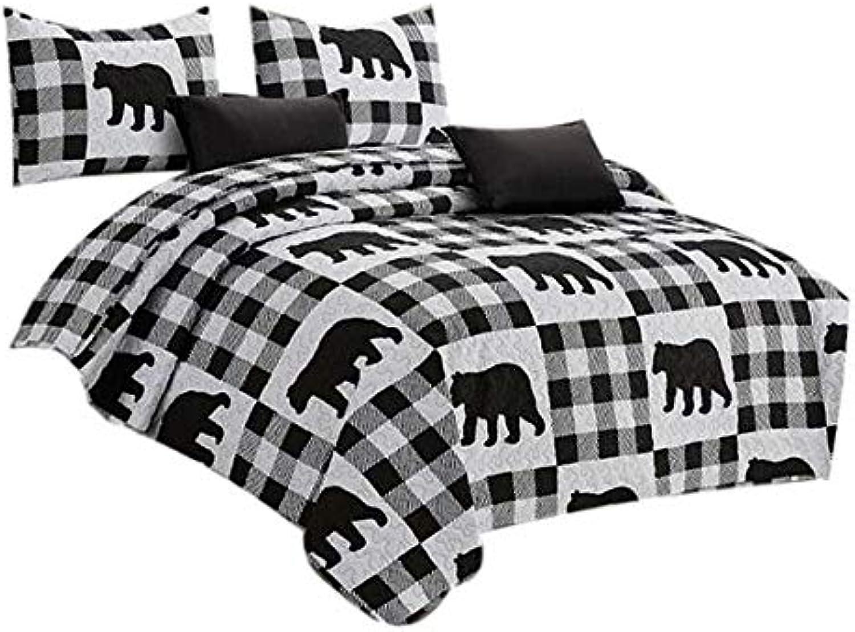 Virah Bella Buffalo Plaid Rustic Black Bear Quilt & Sham Set (White, Black, Twin)
