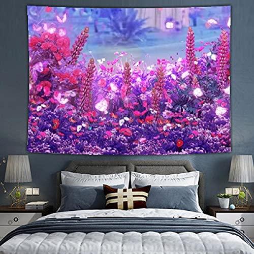 ZASX Tela de fondo extra grande para colgar en la pared, jardín violeta, 150 x 200 cm, decoración de habitación, decoración de dormitorio, gua sha, sombras, materiales de pared, tela de tapiz