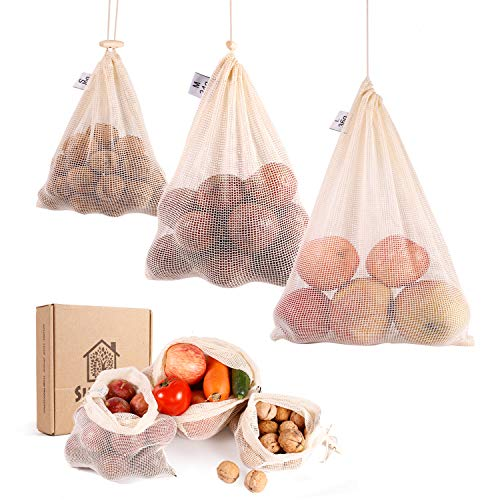 Reusable Produce Bags Cotton Washable with Tare Weight | Reusable Mesh Produce Bags Organic Cotton for Fruits and Veggies Eco Friendly | Reusable Durable Grocery Shopping Storage Bag 6 Pcs(2L2M2S