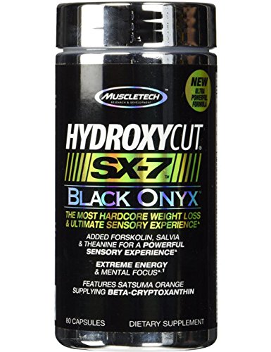 MuscleTech Hydroxycut SX-7 Black Onyx, Extreme Energy and Hardcore Weight Loss, 80 Capsules