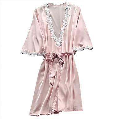 Kimono de Encaje Pijamas de Seda Mujer Verano Chaleco de ...