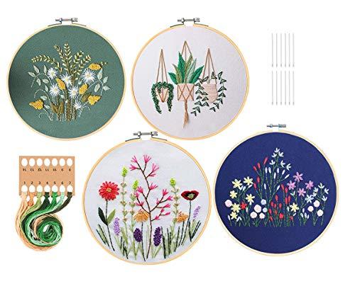 GOTONE Stickerei-Set mit Mustern und Anleitungen, Muster Vollsortiment an gestempelten Sticksets, mit Blumenmuster, 2 Bambus Stickrahmen, Farbfäden und Werkzeuge, 4 Sets