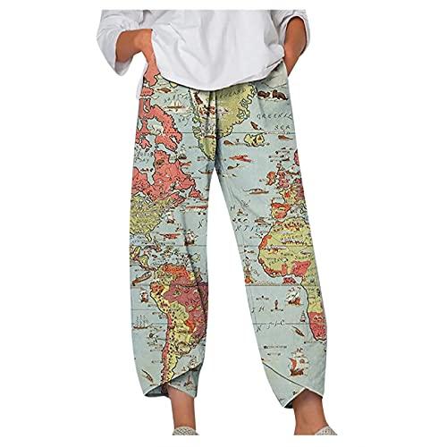 Pantalones de lino para mujer, sueltos, holgados, con impresión de moda, rectos, elásticos, de pierna ancha, cómodos, suaves, informales, a rayas, pantalones largos y ligeros. Verde L