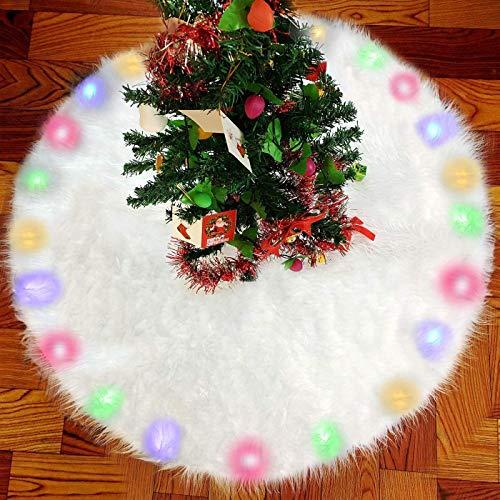 Borje Plüsch Weihnachtsbaum Rock, Groß Kunstfell Weihnachtsbaumdecke Christbaumständer Teppich mit eingebautem LED-Licht für Weihnachten Neujahr Party Dekoration - 122cm