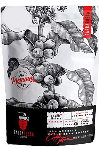 Brazil Natural, Barbarossa Coffee, Organic, Medium Dark Roasted Whole Bean Coffee 2.2 Pound