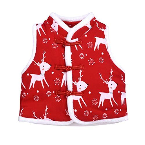 Livoral Mädchen Weihnachten Elch drucken Cartoon-Mantel Kleinkind Kleiner Junge Manteljacke(B,0-6 Monate)