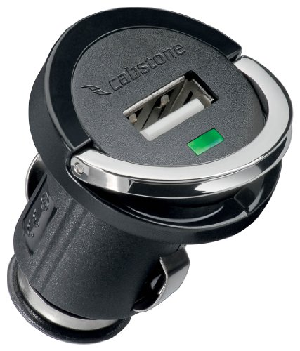 Cabstone 1200 mA USB Autoladegerät (Mini-KFZ Adapter, lädt 1x Smartphone/Navi/Nintendo/usw., für PKW und LKW, Schutzelektronik, Klappbügel) schwarz