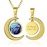 Custom4U Collar Personalizado Astrología para Cumpleaños 12 Constelaciones Signos Acuario Colgantes Acero Inoxidable Sol y Luna de Cielo Nombres Personales