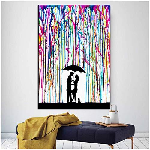 xiongda Graffiti-Leinwand, die bunten Regen unter Regenschirm Malt, der Liebhaber küsst Kunst-Leinwand druckt Bild / 50X70cm-kein Rahmen