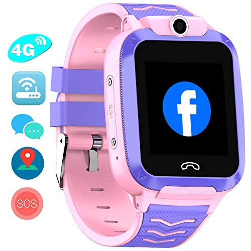 Vowor 4G Kids Smart Watch, WiFi GPS LBS Tracker SOS Emergency Call Video Chatting Children Smartwatches, IP67 Waterproof Phone Watch for Boys Girls, Compatible with Android/iPhone iOS (Pink, V-02)