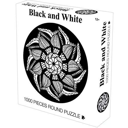 Puzzles De 1000 Piezas Moda Simple Mandala En Blanco Y Negro Desafío Rompecabezas Redondos Rompecabezas Fresco Y Premium para Adultos