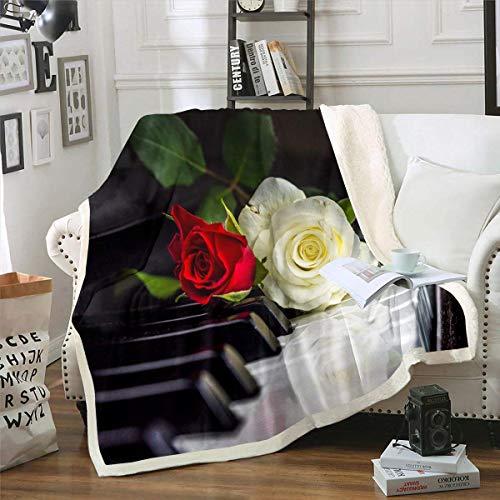 Manta con diseño de rosas 3D para piano, manta de franela de música clásica, manta romántica, cálida y difusa para amante, manta de sherpa de moda, para habitación de invitados, decoración de reina