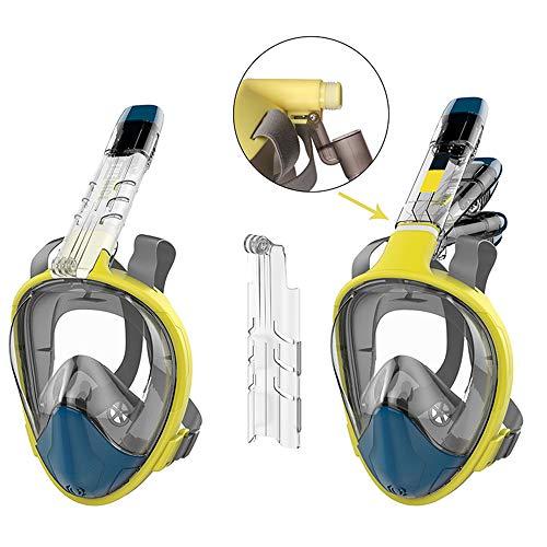 Snorkel Completamente seco, máscara antivaho Plegable de 180 ° HD, Tubo de respiración Extra Ancho y Soporte Desmontable para Todo Tipo de Rostro,Yellow,L/XL