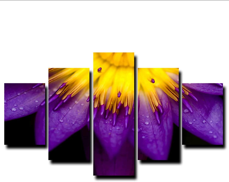 comprar descuentos Guyuell Decoración para el hogar Parojo de la Sala Sala Sala de Fotos 5 Unidades Piezas Hermosas Flores púrpuras Pintura del Arte Modular HD Lienzo Impreso Cartel-20CMx35 45 55CM,with Frame  solo cómpralo