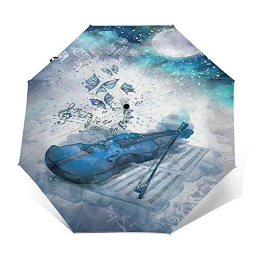 TISAGUER Paraguas automático de Apertura/Cierre,Cuadro de Acuarela Azul de Arte Moderno,violín y partituras,Mariposas Azules y Blancas voladoras,Paraguas pequeño Plegable a Prueba de Viento