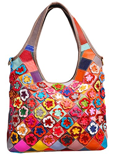 Double top handle with zippered closure. Designer by many candy color flowers decorations. High quality anti-gold hardware and luxury durable polyester lining for this bag. Interior cell phone pocket and small side zipper pocket,Exterior rear zipper ...