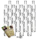 gouveo 24er Set Flasche Maraska 250 ml inkl. Schraubverschluss Silber, Likörflaschen,...