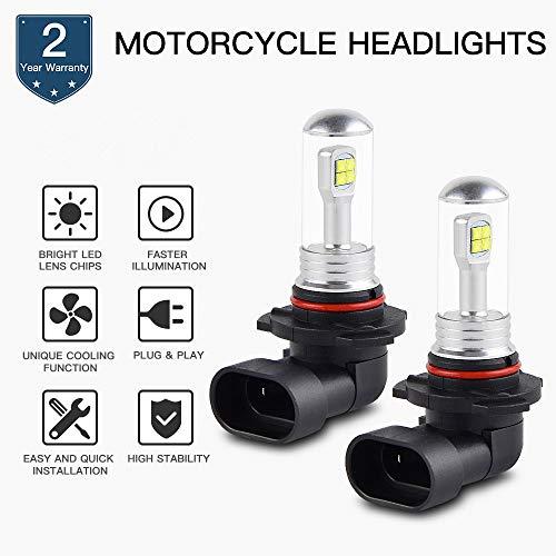 H2Racing 2Pcs Moto 9005/HB3 LED Ampoules Phare sans Canbus,1500LM 6500K Blanc Pur Feux de Brouillard Conduire Lampe Remplacez Les Lampes halogènes ou DHI