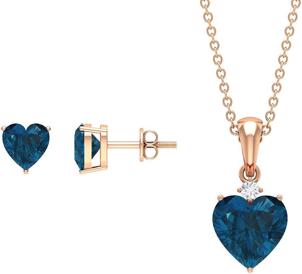 3.5 CT London Blue Topaz Jewelry Set, Solitaire Earrings and Pendant Set, HI-SI Diamond Necklace Set,14K Rose Gold,Diamond