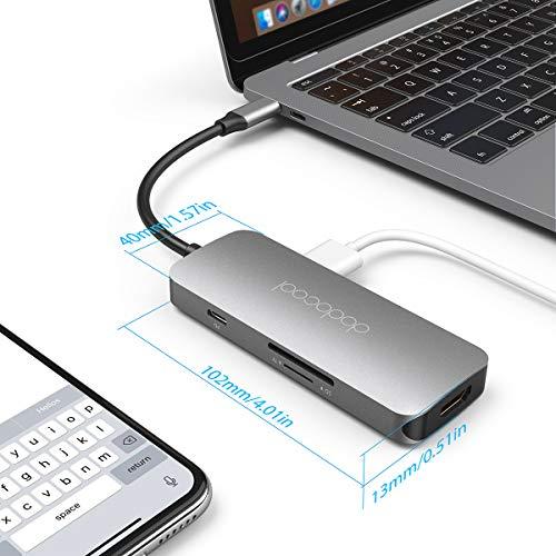 dodocool USB C Hub, 7 in 1 USB C Adapter, USB C Hub HDMI 4K mit 100W PD, SD/Micro SD-Kartenleser, 3 USB 3.0, USB Typ C Adapter für MacBook Pro/Air 2020/2019/2018, Chromebook, Dell XPS, Samsung S20/A71