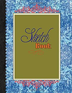 """Sketch Book: Large Notebook for Drawing, Doodling or Sketching: 109 Pages, 8.5"""" x 11"""". Blue frilled Cover Sketchbook ( Bla..."""