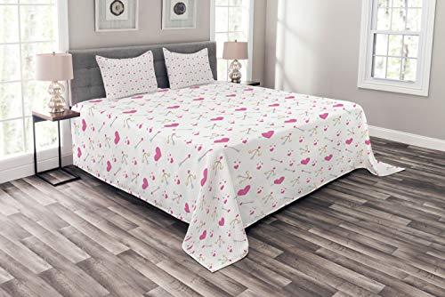 ABAKUHAUS Valentinstag Tagesdecke Set, Romantischer Amor Herz-Entwurf, Set mit Kissenbezügen Kein verblassen, für Doppelbetten 220 x 220 cm, Pink Sand Brown